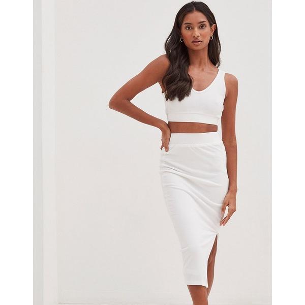 フォース アンド レックス 人気商品 レディース 返品不可 ボトムス スカート White 全商品無料サイズ交換 4th white midi skirt in Reckless textured Koda slit set