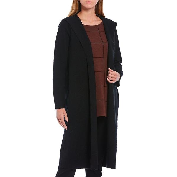 【超特価sale開催】 エイリーンフィッシャー レディース ジャケット&ブルゾン アウター Light Boiled Wool Hooded Wrap Open Front Jacket Black, マキムラ 9e012bb3