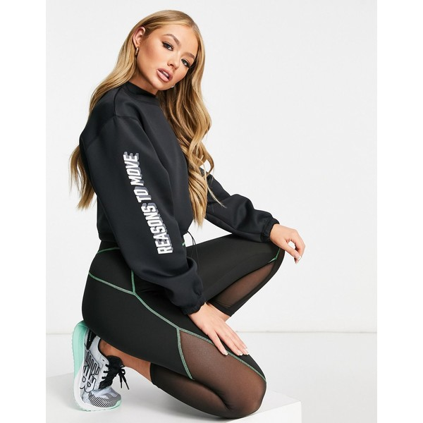 保障できる エイソス レディース パーカー・スウェットシャツ アウター ASOS 4505 crop logo sweatshirt in neoprene Black, タイヤショップGoodman be2703f9