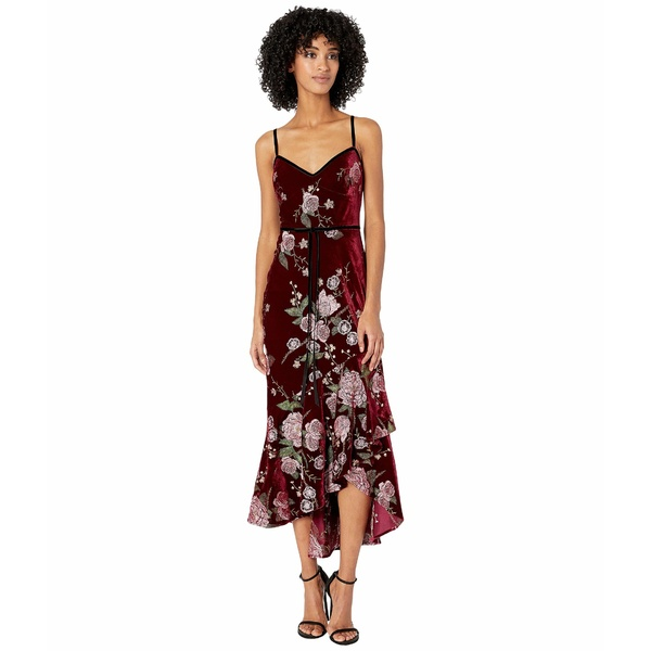 マルケサノット レディース ワンピース トップス Sleeveless Embroidered Velvet Hi-Lo Cocktail Dress w/ Cascading Asymmetrical Hem Wine