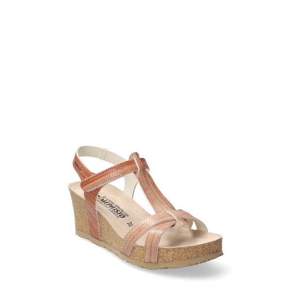 メフィスト レディース サンダル シューズ Liviane Wedge Sandal Old Pink Reptile Print Leather