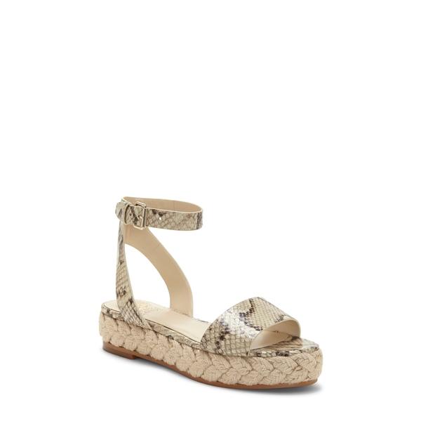 ヴィンスカムート レディース サンダル シューズ Defina Ankle Strap Platform Sandal Oatmeal Snake Print Leather