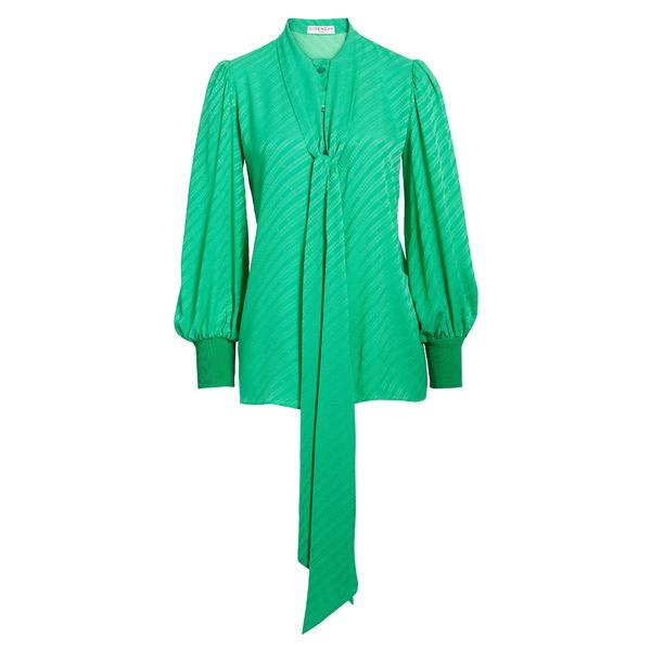 ジバンシー レディース カットソー トップス Jacquard Logo Print Tie Neck Silk Top Apple Green