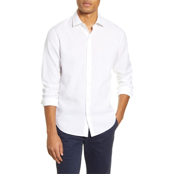 ボノボス メンズ シャツ トップス Bonobos Unbutton Down Slim Fit Button-Up Linen Blend Shirt White