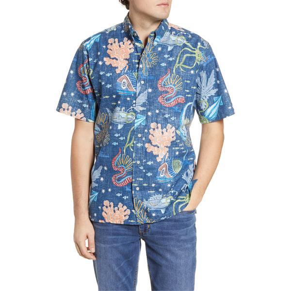 レインスプーナー メンズ シャツ トップス Reyn Spooner Deep Sea Jive Short Sleeve Button-Down Shirt Dress Blues