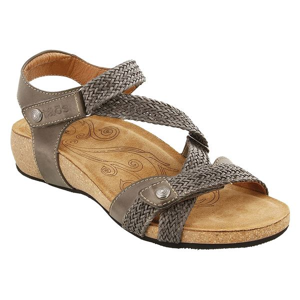 タウス レディース サンダル シューズ Taos 'Trulie' Wedge Sandal (Women) Dark Grey Leather