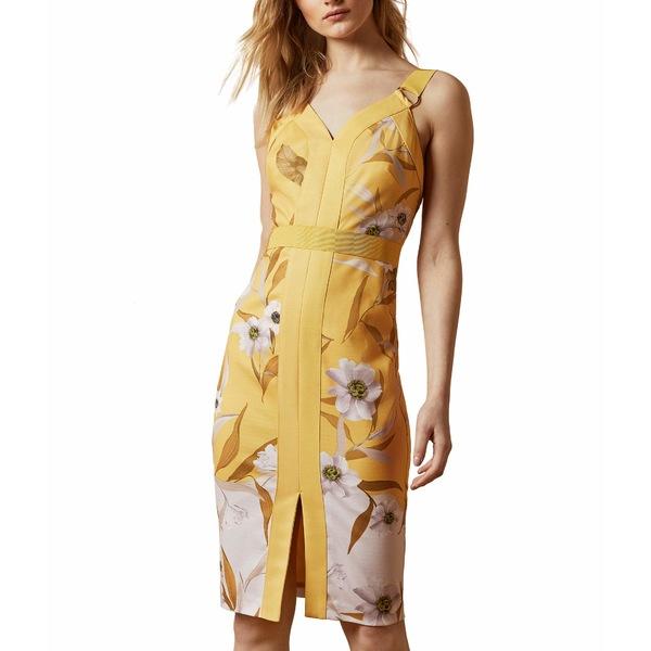 テッドベーカー レディース ワンピース トップス Peppinn Cabana Panel Bodycon Dress Yellow