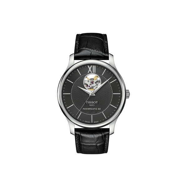 ティソット メンズ 腕時計 アクセサリー Tradition Powermatic 80 Open Heart - T0639071605800 Black/Black