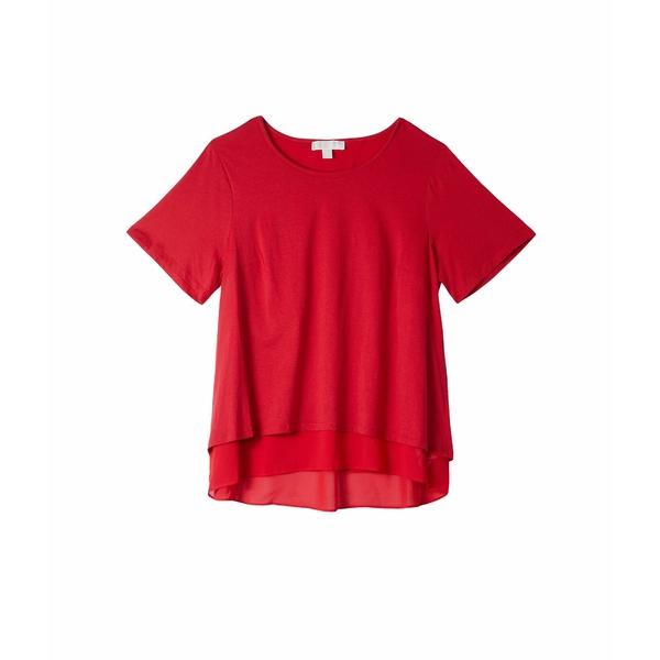 マイケルコース レディース シャツ トップス Plus Size Back Cutout Short Sleeve Top Scarlet