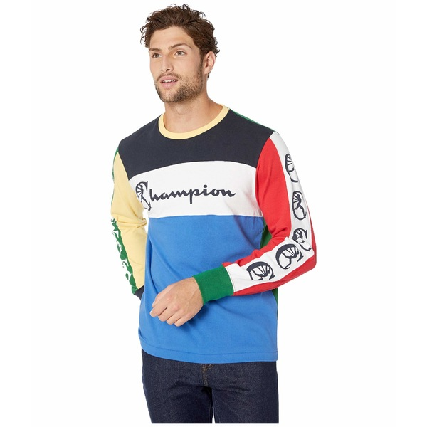 トッドスナイダー メンズ シャツ トップス Todd Snyder + Champion Color Block Graphic Long Sleeve Light Blue