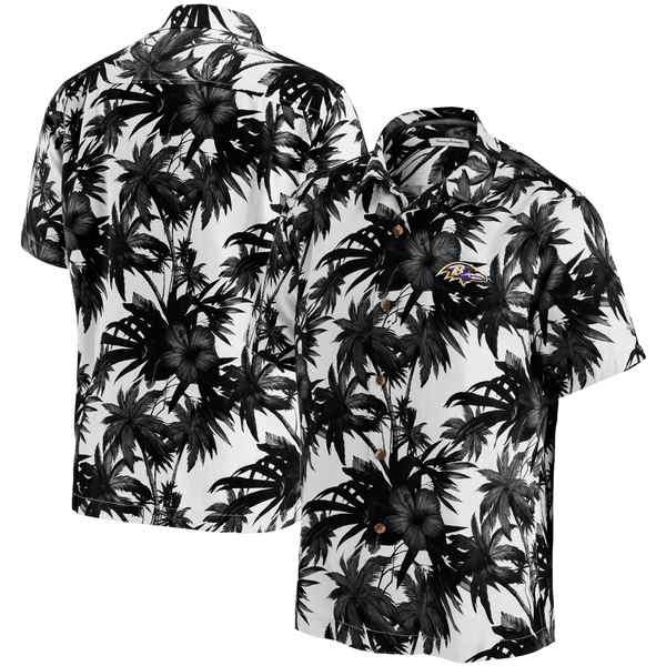 トッミーバハマ メンズ シャツ トップス Baltimore Ravens Tommy Bahama Sport Harbor Island Hibiscus Camp ButtonDown Shirt Black