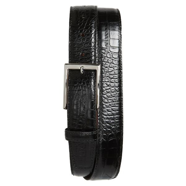 トリノ メンズ ベルト アクセサリー Torino Gator Grain Embossed Leather Belt Black
