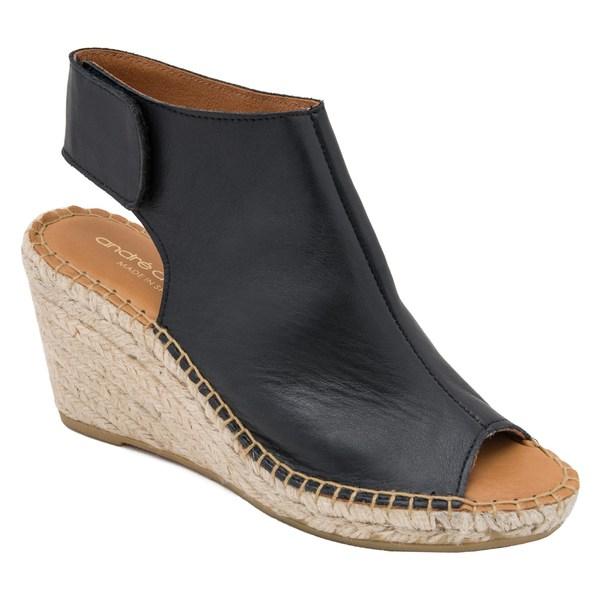 アンドレア アース レディース サンダル シューズ Andr Assous Flora Espadrille Wedge Shield Sandal (Women) Black Leather