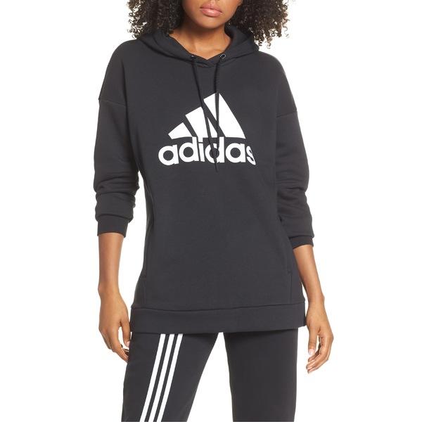 アディダス レディース パーカー・スウェットシャツ アウター adidas Logo Hoodie Black