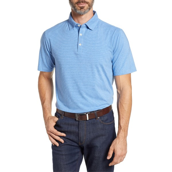 ピーター・ミラー メンズ ポロシャツ トップス Peter Millar Regular Fit Stripe Polo Iberian Blue