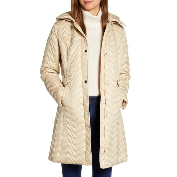ヴィアスピガ レディース コート アウター Via Spiga Chevron Quilted Water Resistant Coat Stone