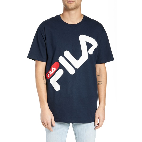 フィラ メンズ Tシャツ トップス FILA Micah Logo T-Shirt Navy/ White/ Chinese Red