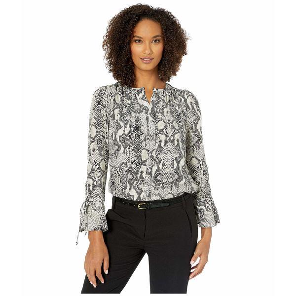 エリオットローレン レディース シャツ トップス Snakeskin Pullover Shirt with Drawstring Cuff Ivory/Grey