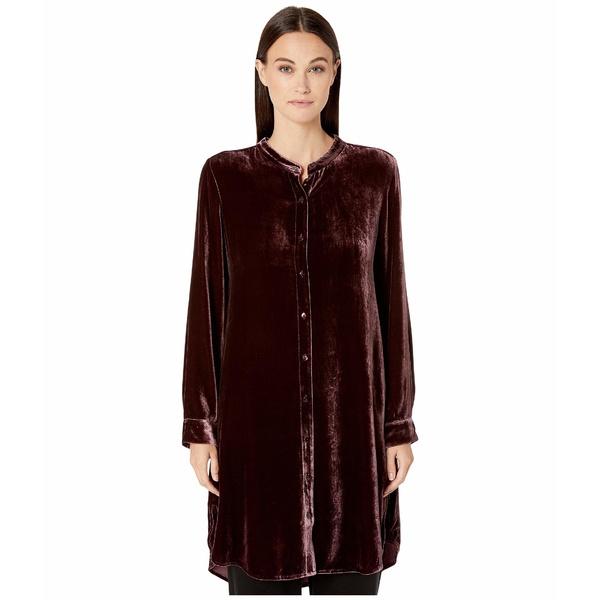 エイリーンフィッシャー レディース シャツ トップス Velvet Mandarin Collar Long Shirt Cassis