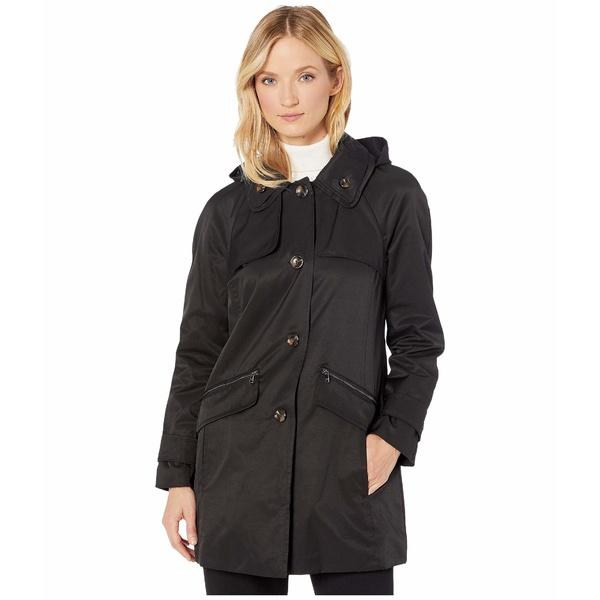 ロンドンフォグ レディース コート アウター Beth Walker Coat with Removable Hood Black