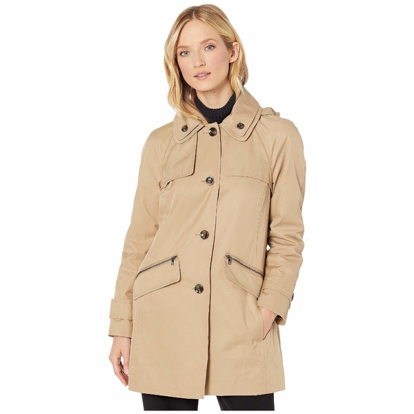ロンドンフォグ レディース コート アウター Beth Walker Coat with Removable Hood British Khaki