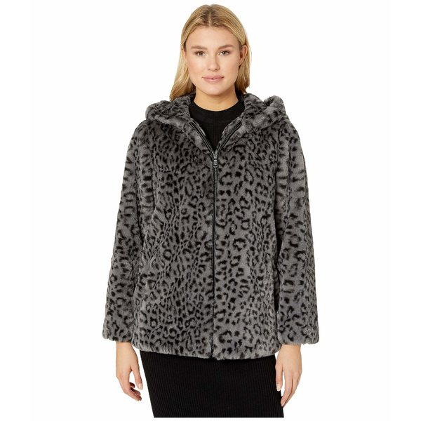 ヴィンスカムート レディース コート アウター Hooded Zip Front Faux Fur Jacket V29753 Grey Leopard