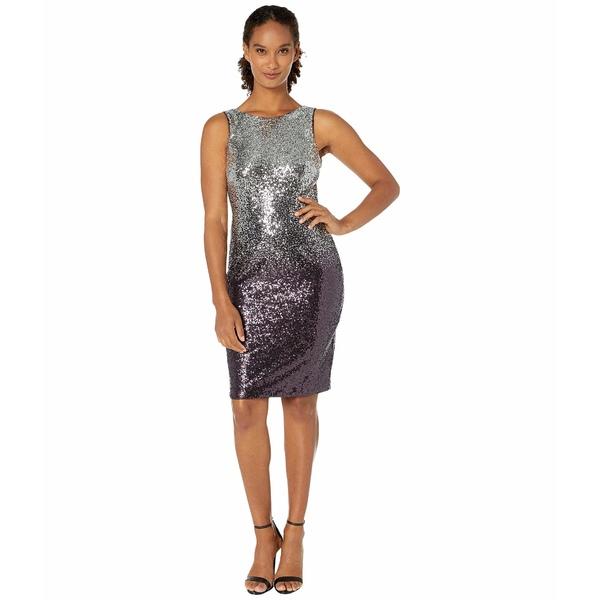 カルバンクライン レディース ワンピース トップス Sequin Sheath Dress Silver/Aubergine