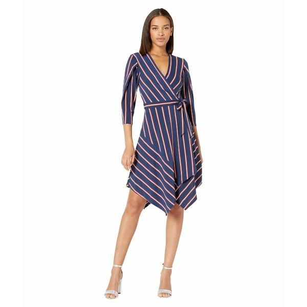 ビーシービージーマックスアズリア レディース ワンピース トップス Stripe Matte Jersey Wrap Dress Pacific Blue/Valet Stripe