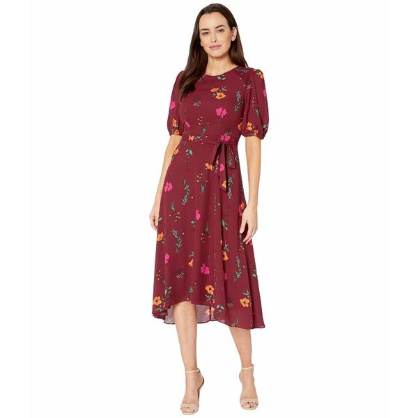 ドナモーガン レディース ワンピース トップス Floral Printed Elbow Sleeve High-Low Georgette Dress Bordeaux/Electric Pink Multi