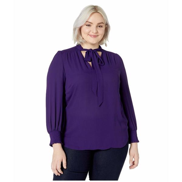 ラルフローレン レディース シャツ トップス Plus Size Tie Neck Georgette Top Royal Purple