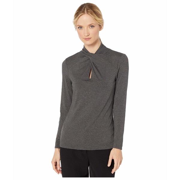 ヴィンスカムート レディース シャツ トップス Long Sleeve Twist Neck Top Medium Heather Grey