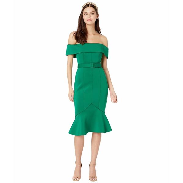 バッジェリーミシュカ レディース ワンピース トップス Off-the-Shoulder Belted Scuba Cocktail Dress Green