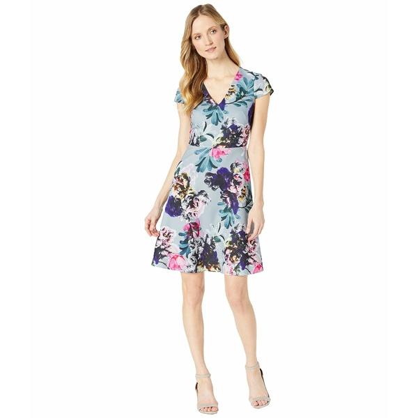アドリアナ パペル レディース ワンピース トップス Mystic Floral Fit and Flare Dress Blue Multi