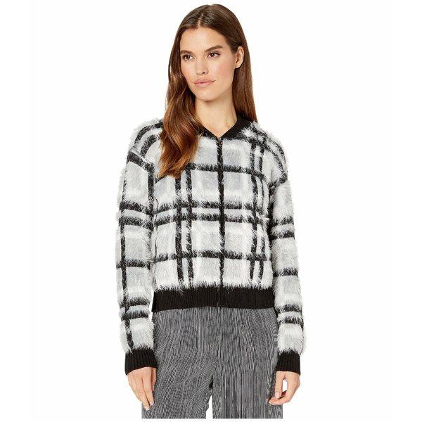 ワンステイト レディース ニット&セーター アウター Zip Front Plaid Eyelash Sweater Silver/Blush
