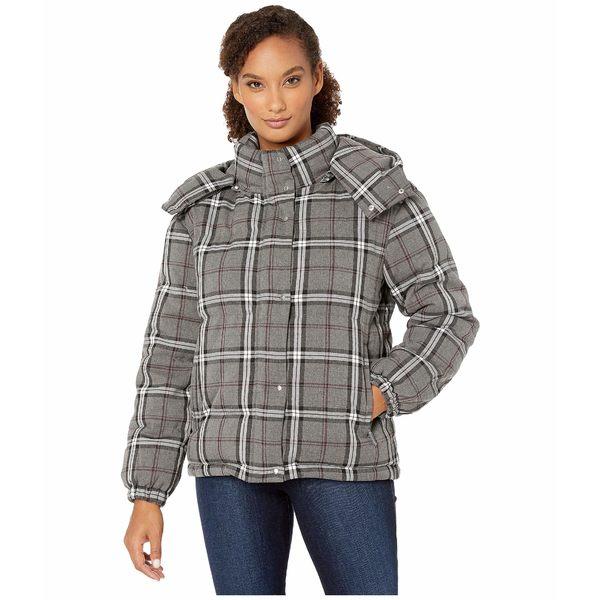 ヴィンスカムート レディース コート アウター Large Bold Plaid Hooded Puffer Jacket Medium Heather Grey