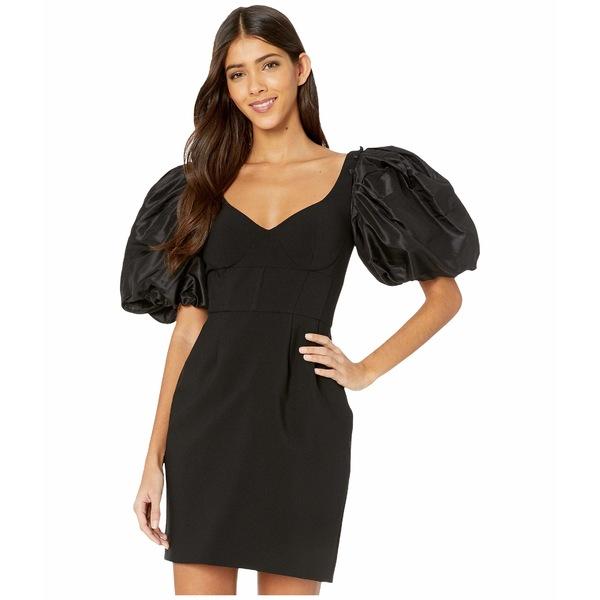プラバルグラング レディース ワンピース トップス Stretch Crepe Corset Dress w/ Puff Sleeve Black