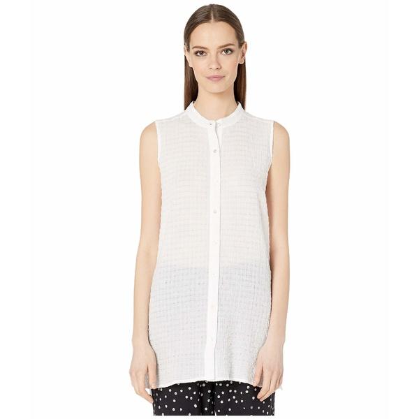 エイリーンフィッシャー レディース シャツ トップス Organic Cotton Voile Box Mandarin Collar Shirt White