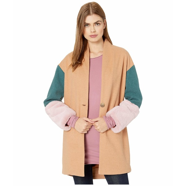 ブランクニューヨーク レディース コート アウター Color Block Cocoon Coat with Faux Fur Cuffs in Out Of Office Multicolor