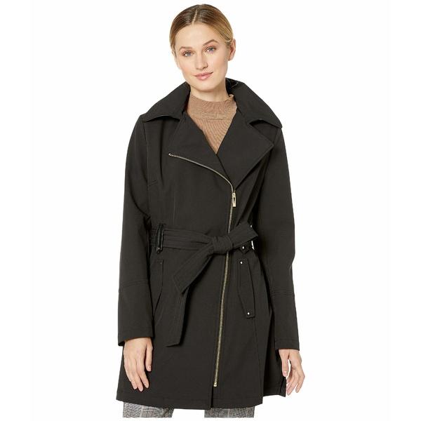 ヴィアスピガ レディース コート アウター Asymmetrical Hooded Belted Soft Shell w/ PU Trim Black 1