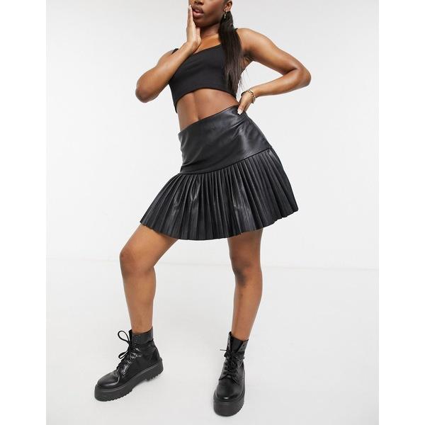 ファム ルクス 卸売り レディース ボトムス スカート SEAL限定商品 Black 全商品無料サイズ交換 Femme pleated Luxe pu skirt skater in black