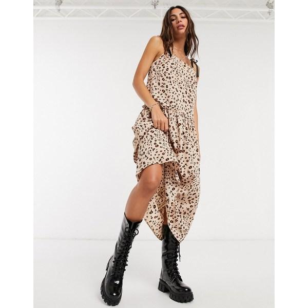贅沢屋の トップショップ レディース ワンピース トップス Topshop drape waist dress in brown Brown, エコラボリーショップ 0556d717