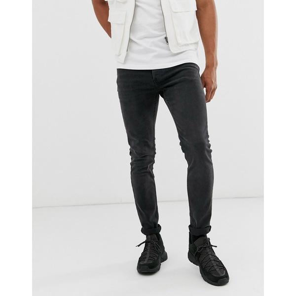 【★大感謝セール】 トップマン メンズ デニムパンツ ボトムス Topman skinny jeans in washed black Black, 【ご予約品】 a92c80f5