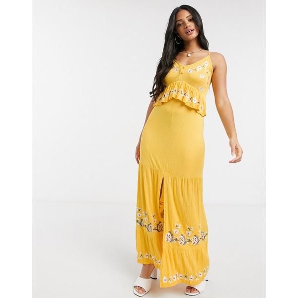 テレビで話題 エイソス レディース トップス ワンピース Yellow 全商品無料サイズ交換 ASOS DESIGN cami dress with yellow front 新作アイテム毎日更新 maxi embroidery in button