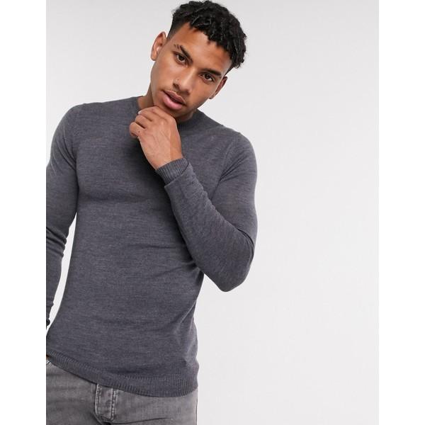 激安/新作 エイソス メンズ ニット&セーター アウター ASOS DESIGN muscle fit merino wool crew neck sweater in charcoal Charcoal, アロマージュ 2c7facbe