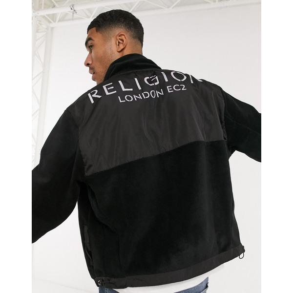 in black Black zip ジャケット&ブルゾン logo Religion through アウター fleece メンズ レリジョン