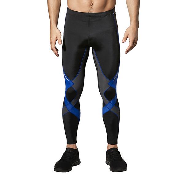 CW-X メンズ ランニング スポーツ CW-X Mens Stabilyx Joint Support Compression Tights Black / Grey / Blue Stitch