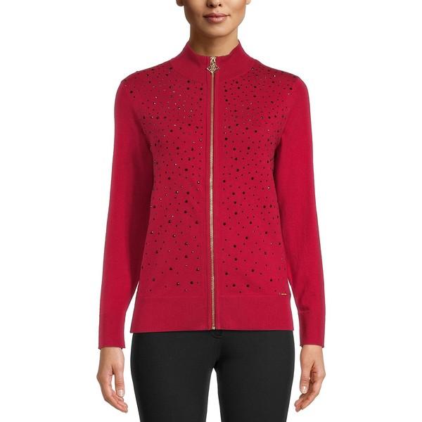 Jeweled Sweater アウター レディース アンクライン ニット&セーター Zipper Red/Black