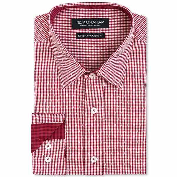 ニックグラハム Shirt メンズ Burgundy Gingham Men's シャツ トップス Dobby