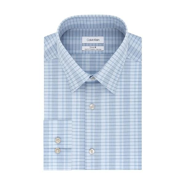 カルバンクライン メンズ シャツ トップス Steel Slim-Fit Non-Iron Plaid Stretch Dress Shirt Delft Blue