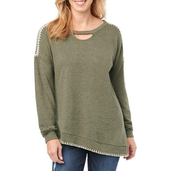 デモクラシー レディース パーカー・スウェットシャツ アウター Crocheted Cotton Blend Sweatshirt Deep